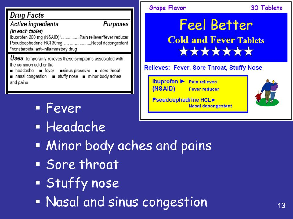 Minor body aches and pains Sore throat Stuffy nose