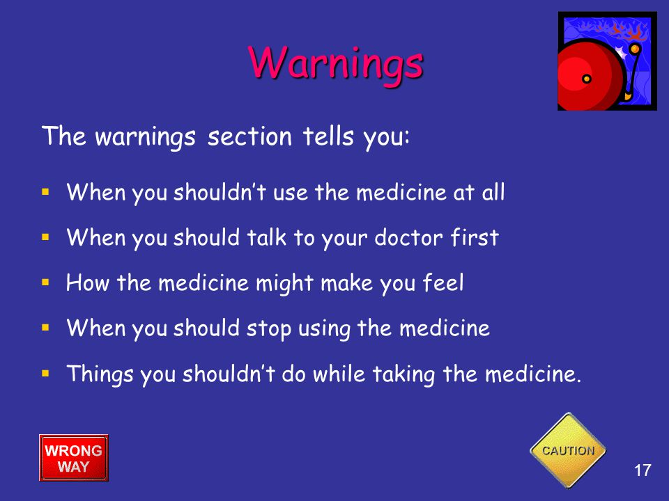 Warnings The warnings section tells you: