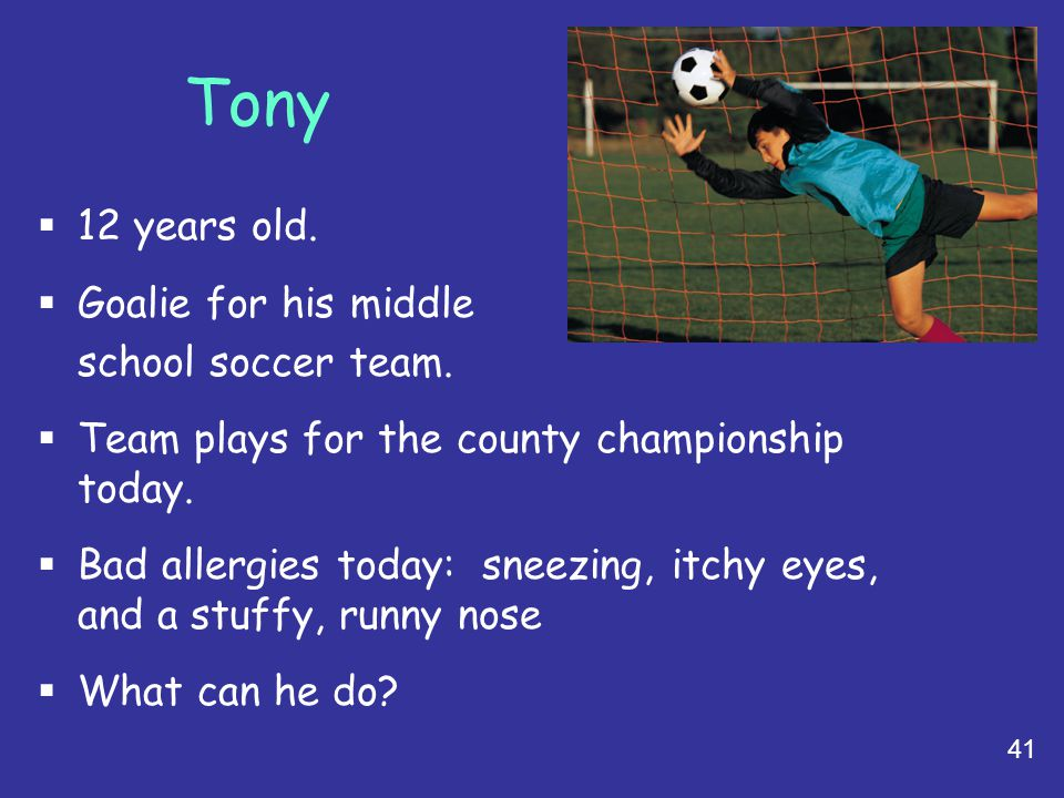 Tony 12 years old. Goalie for his middle school soccer team.