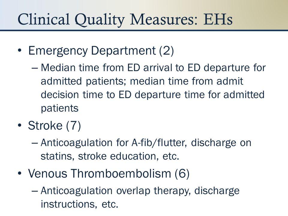 Clinical Quality Measures: EHs