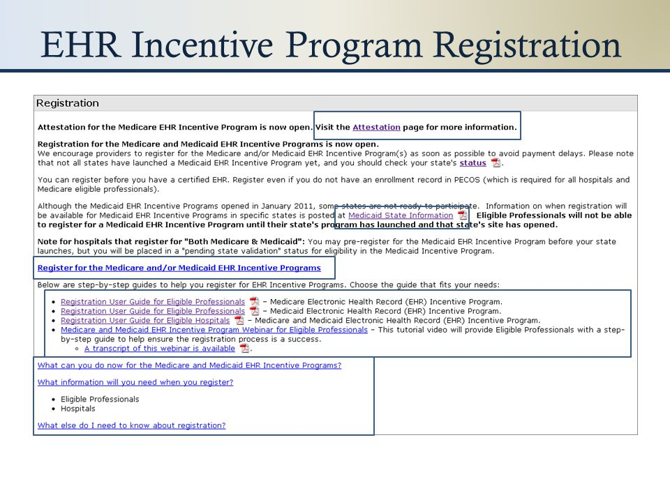 EHR Incentive Program Registration