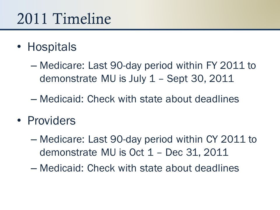 2011 Timeline Hospitals Providers