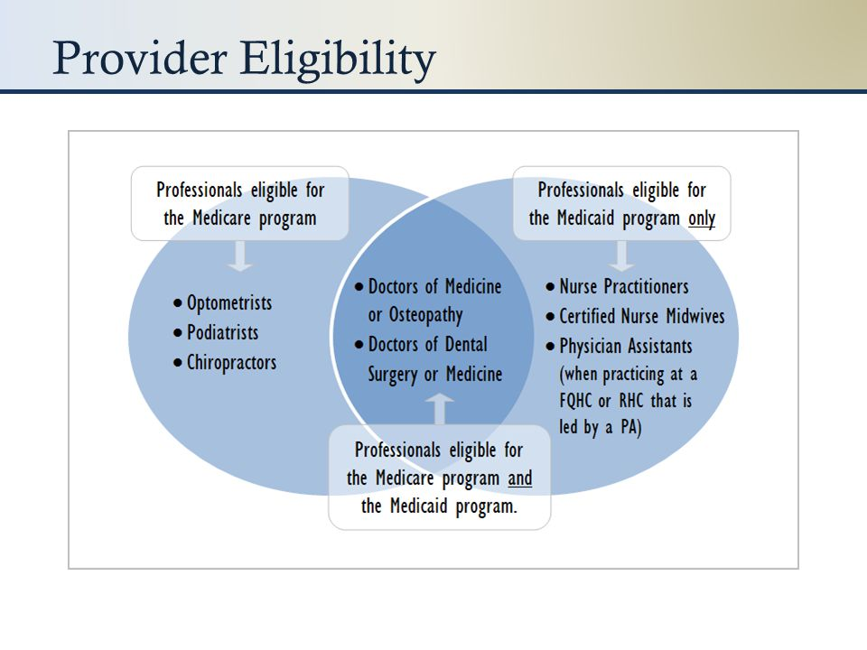 Provider Eligibility To be eligible for the Medicaid incentive program, a provider must have a Medicaid patient volume of 30%.