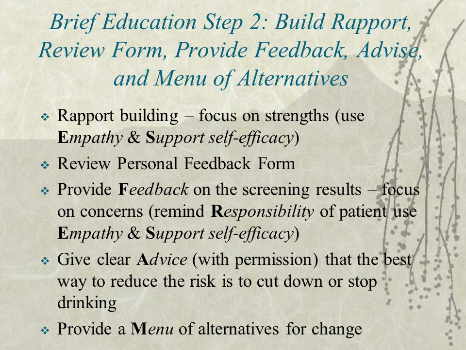 Brief Education Step 2: Build Rapport, Review Form, Provide Feedback, Advise, and Menu of Alternatives