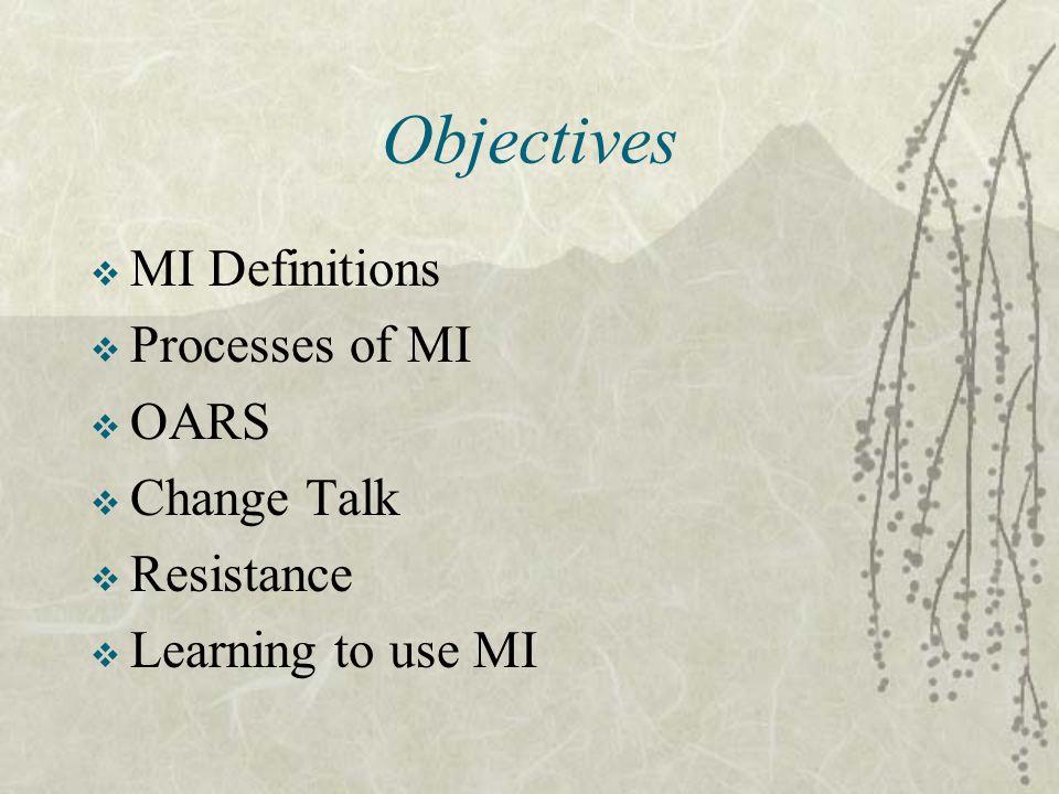 Objectives MI Definitions Processes of MI OARS Change Talk Resistance