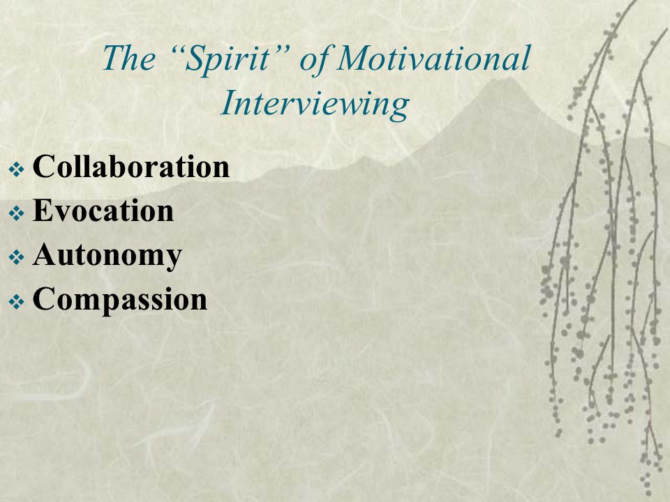 The Spirit of Motivational Interviewing