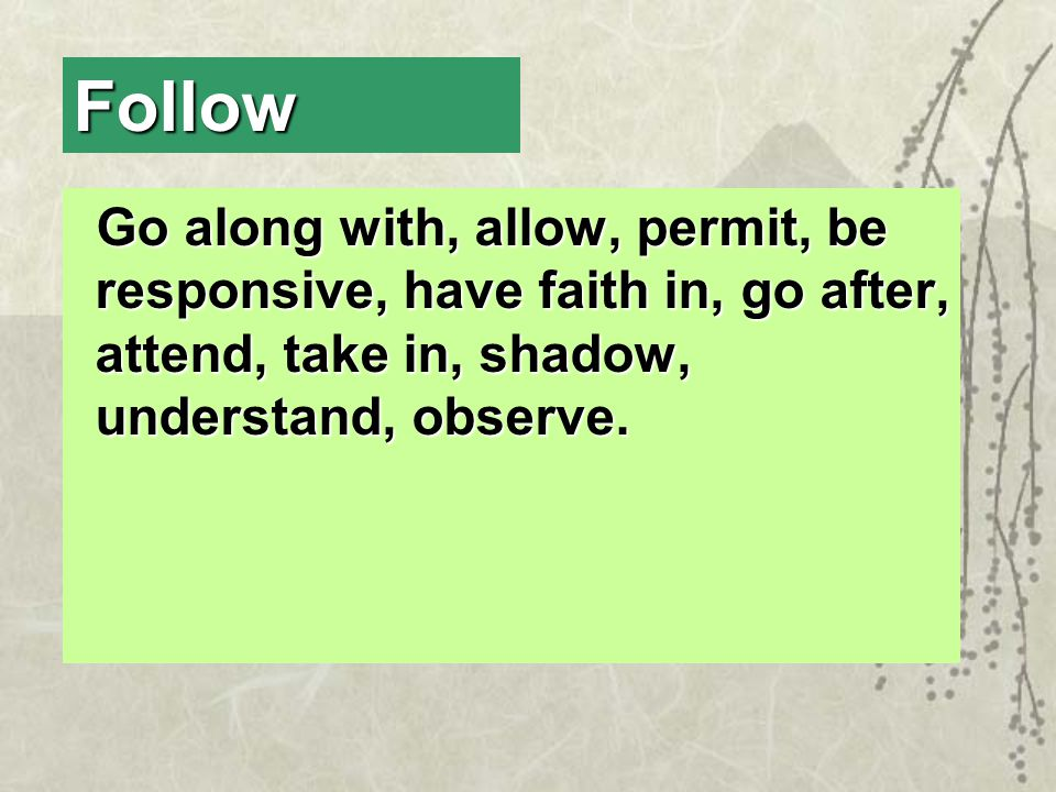 Follow Go along with, allow, permit, be responsive, have faith in, go after, attend, take in, shadow, understand, observe.
