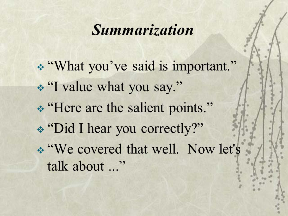 Summarization What you've said is important. I value what you say.