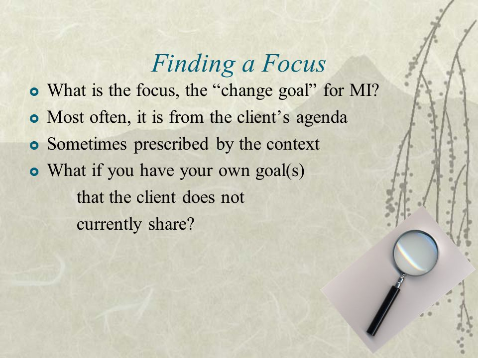 Finding a Focus What is the focus, the change goal for MI