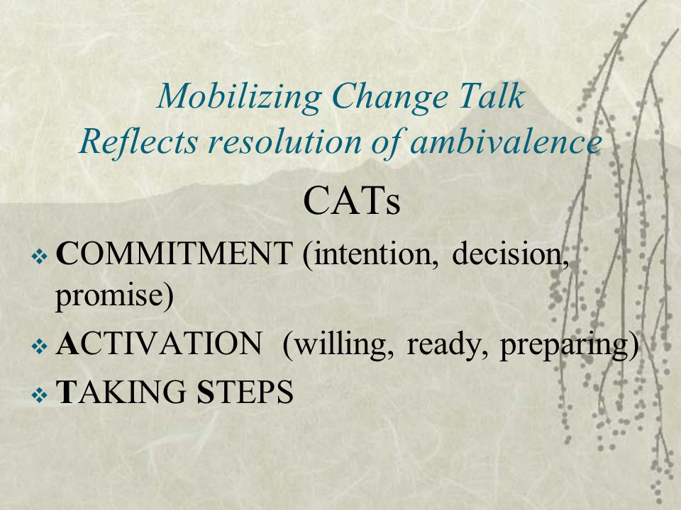 Mobilizing Change Talk Reflects resolution of ambivalence