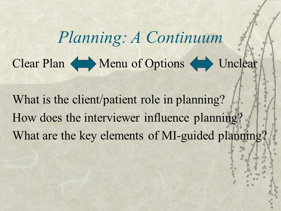 Planning: A Continuum