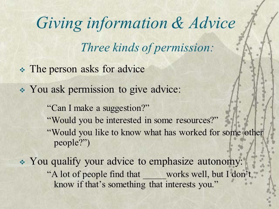 Giving information & Advice