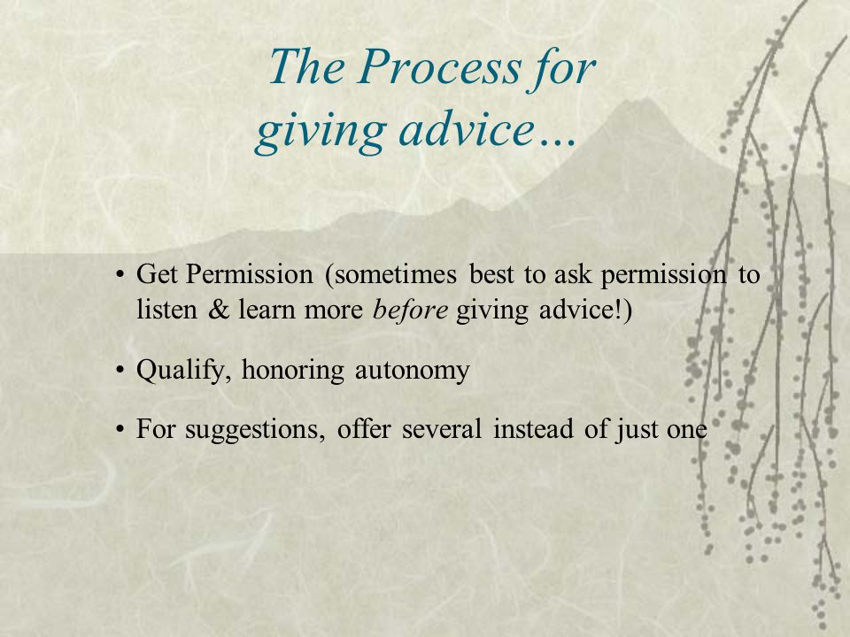 The Process for giving advice…