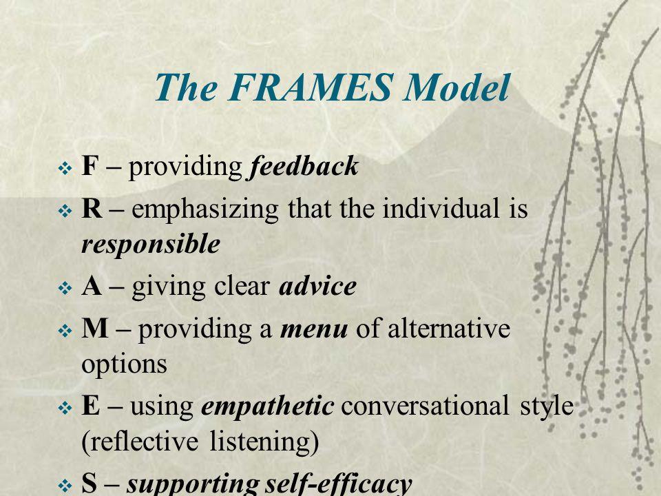 The FRAMES Model F – providing feedback