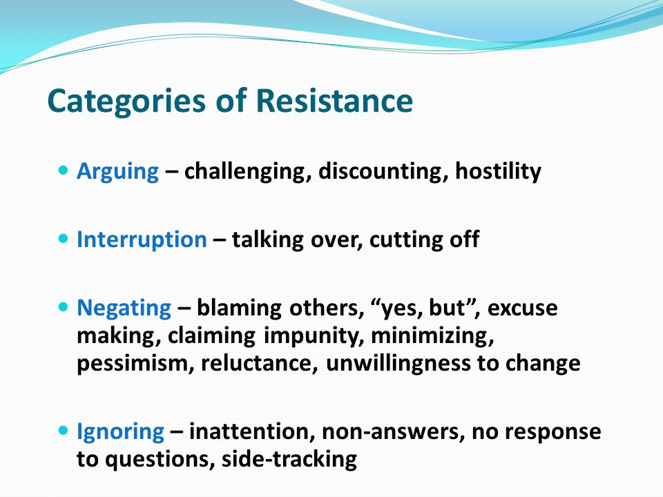 Categories of Resistance