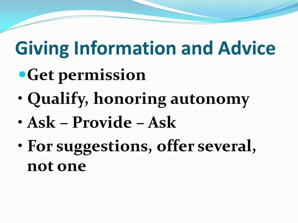 Giving Information and Advice