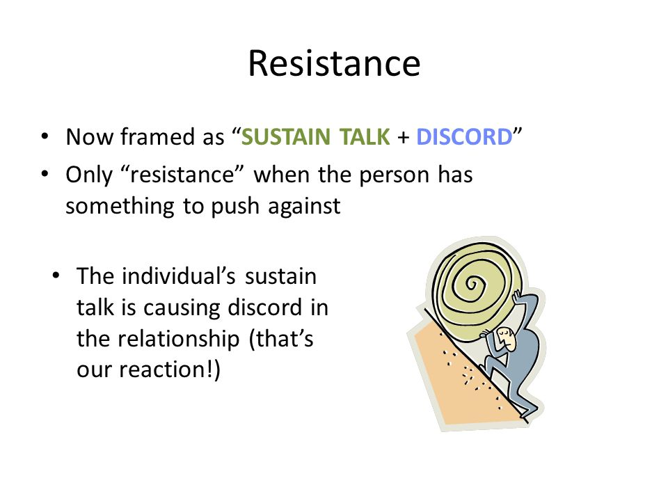 Resistance Now framed as SUSTAIN TALK + DISCORD