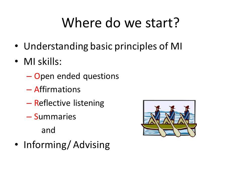 Where do we start Understanding basic principles of MI MI skills: