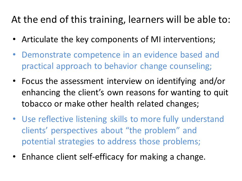 At the end of this training, learners will be able to: