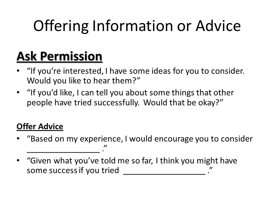 Offering Information or Advice