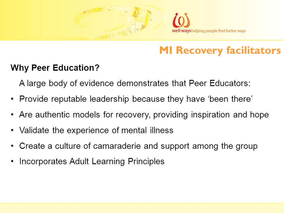 MI Recovery facilitators