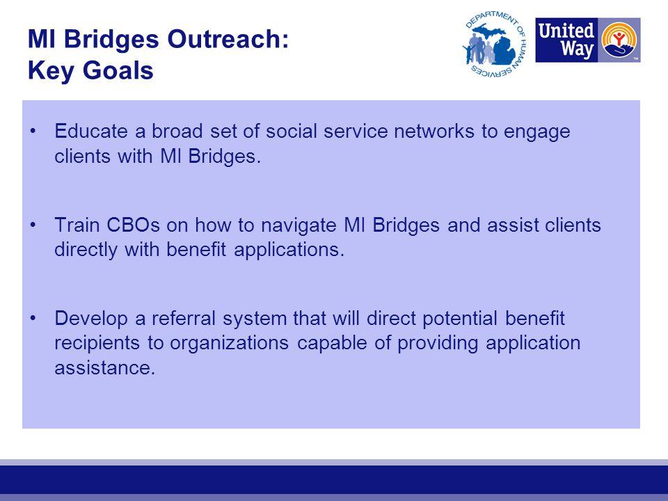 MI Bridges Outreach: Key Goals