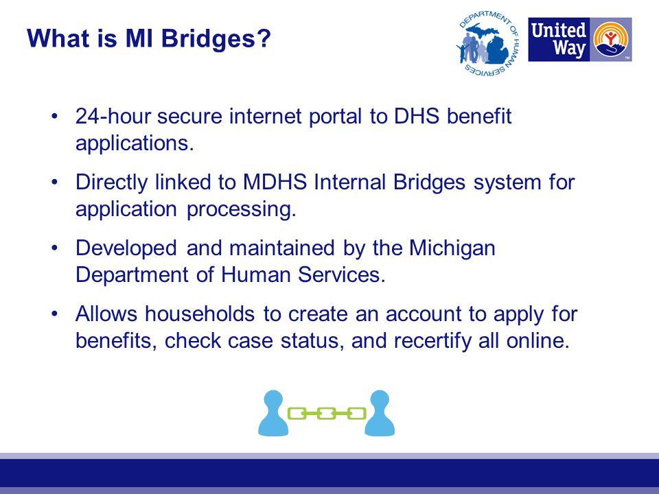 What is MI Bridges 24-hour secure internet portal to DHS benefit applications.
