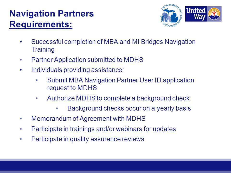 Navigation Partners Requirements: