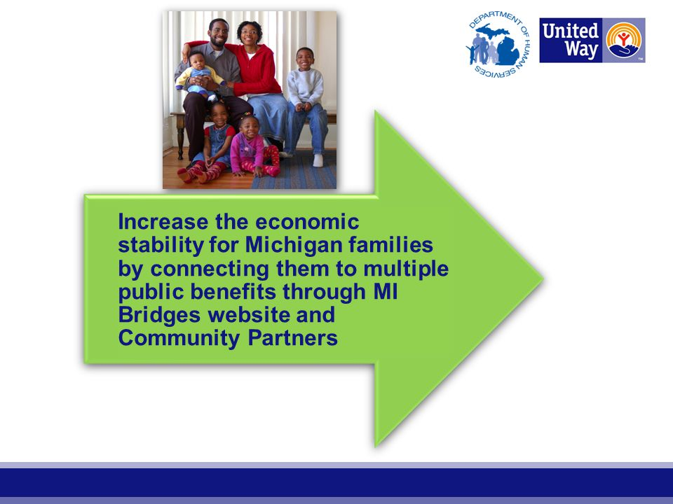 Increase the economic stability for Michigan families by connecting them to multiple public benefits through MI Bridges website and Community Partners
