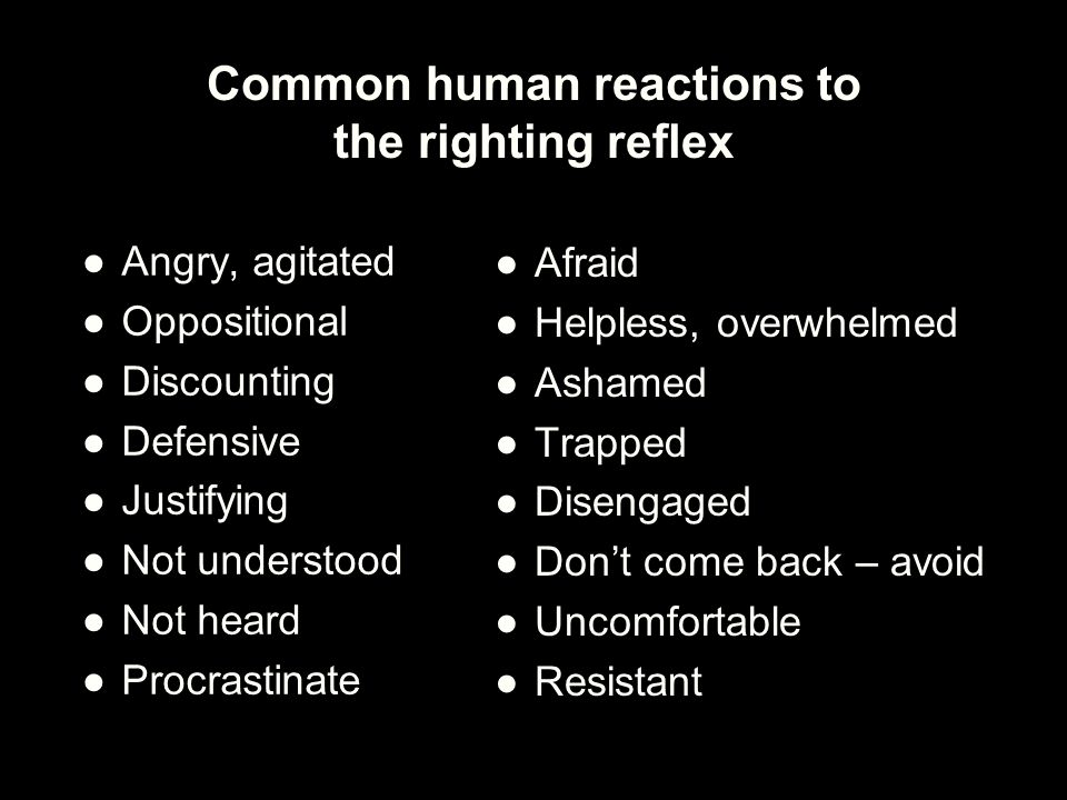 Common human reactions to the righting reflex
