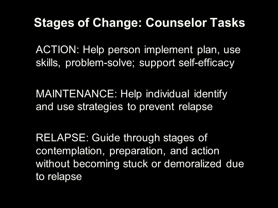 Stages of Change: Counselor Tasks