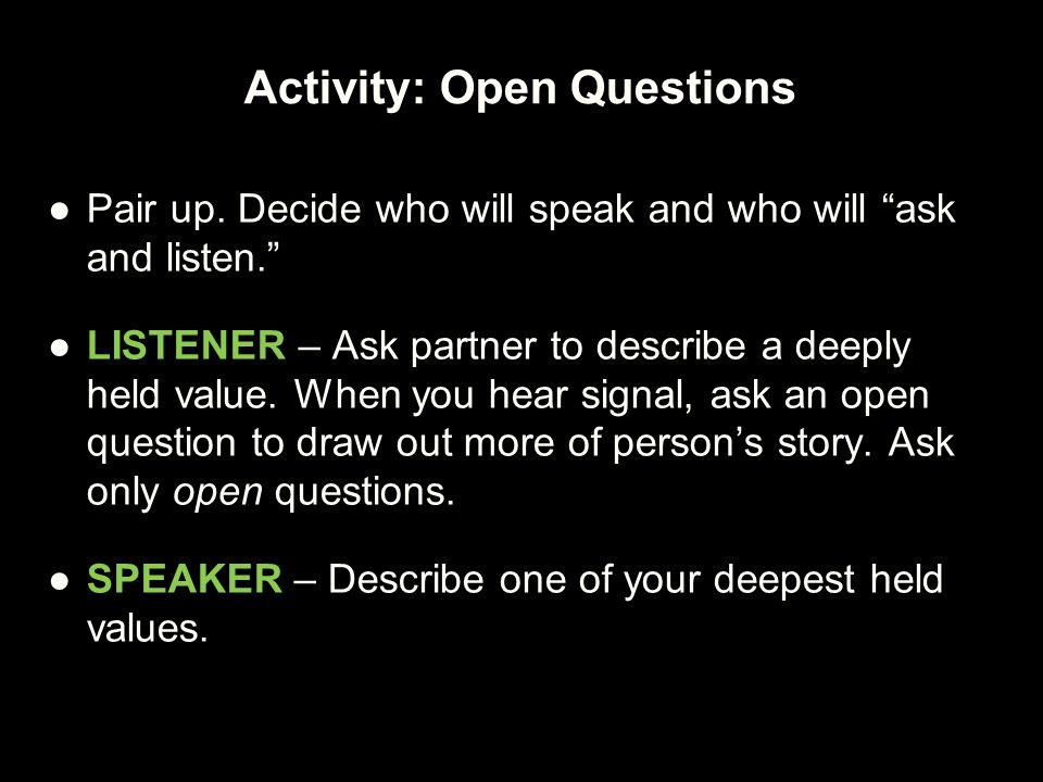 Activity: Open Questions