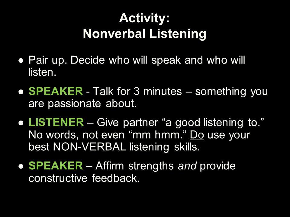Activity: Nonverbal Listening
