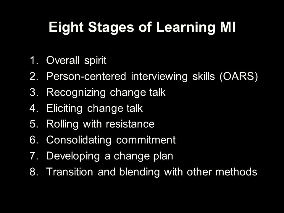 Eight Stages of Learning MI