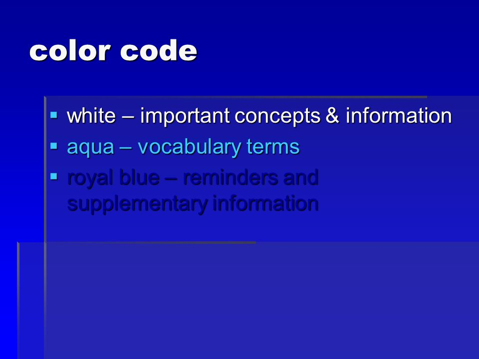 color code white – important concepts & information