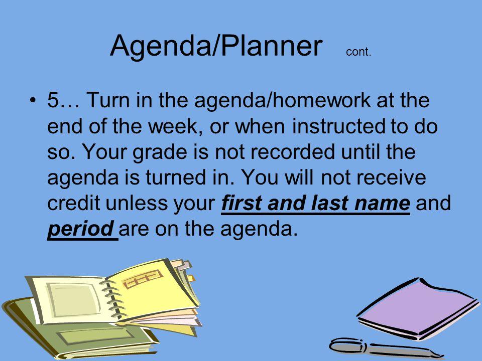 Agenda/Planner cont.