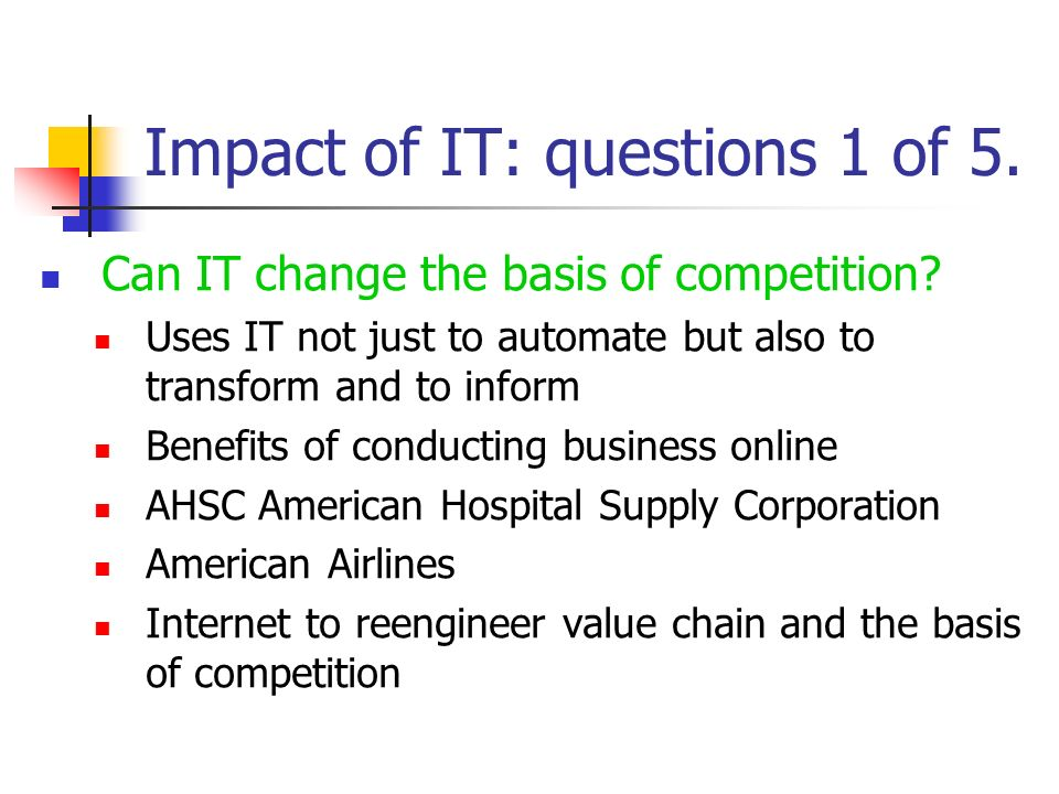 Impact of IT: questions 1 of 5.