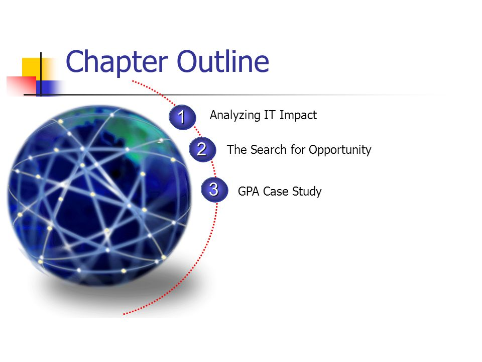 Chapter Outline 1 2 3 Analyzing IT Impact The Search for Opportunity