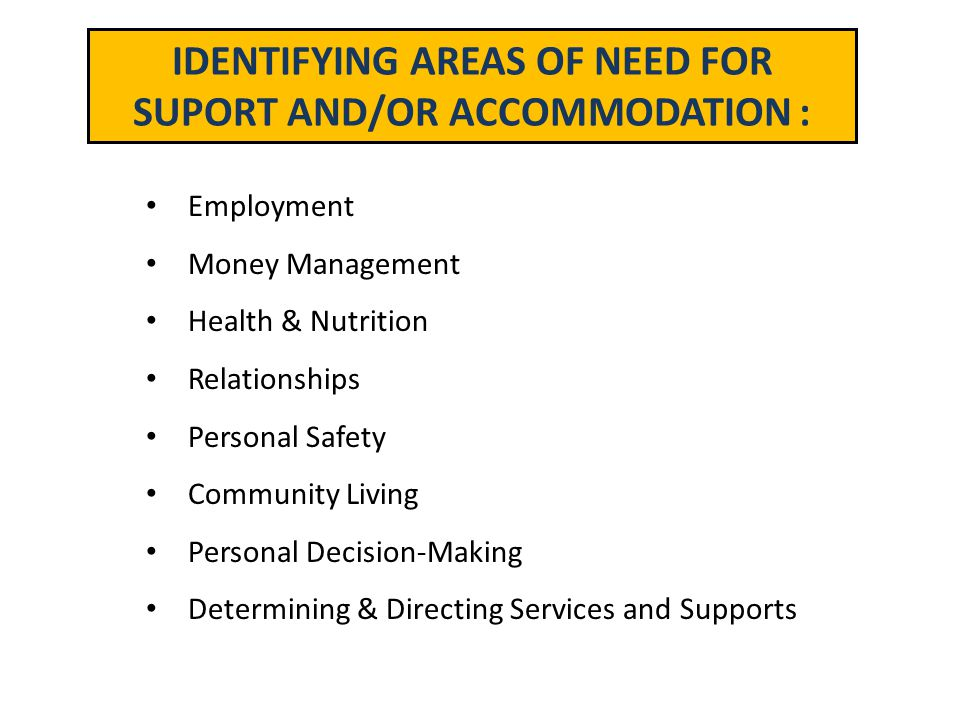 IDENTIFYING AREAS OF NEED FOR SUPORT AND/OR ACCOMMODATION :