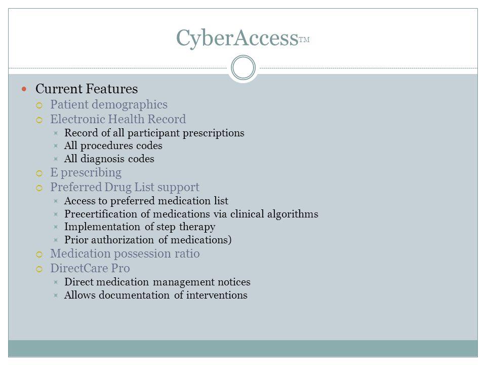 CyberAccessTM Current Features Patient demographics