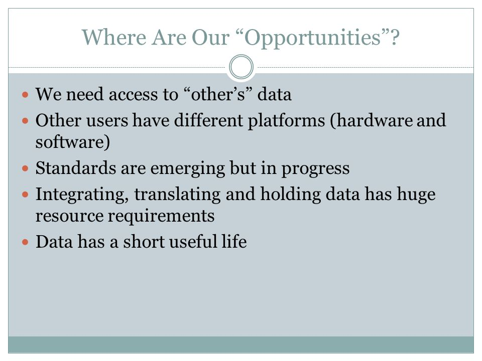 Where Are Our Opportunities