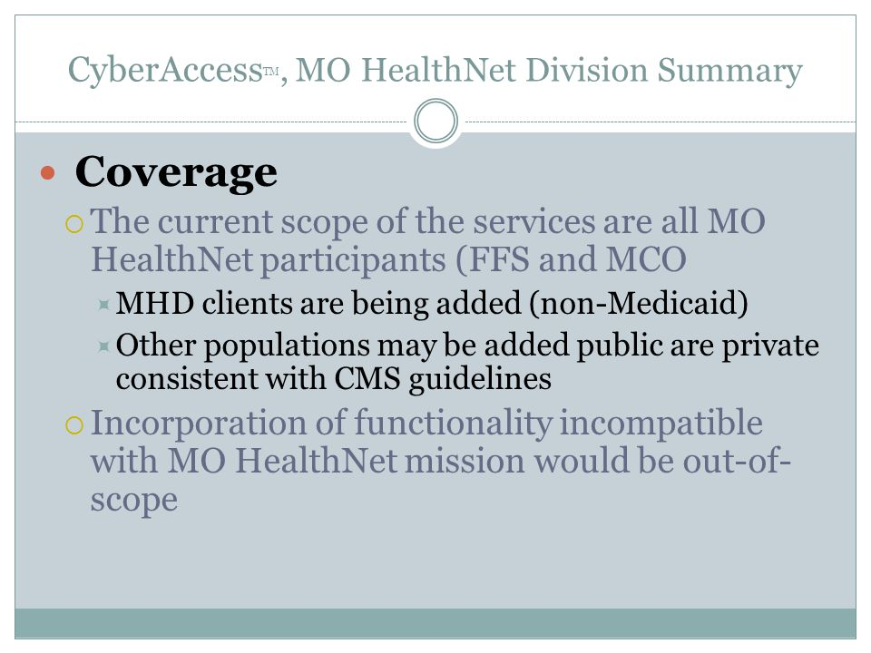 CyberAccessTM, MO HealthNet Division Summary