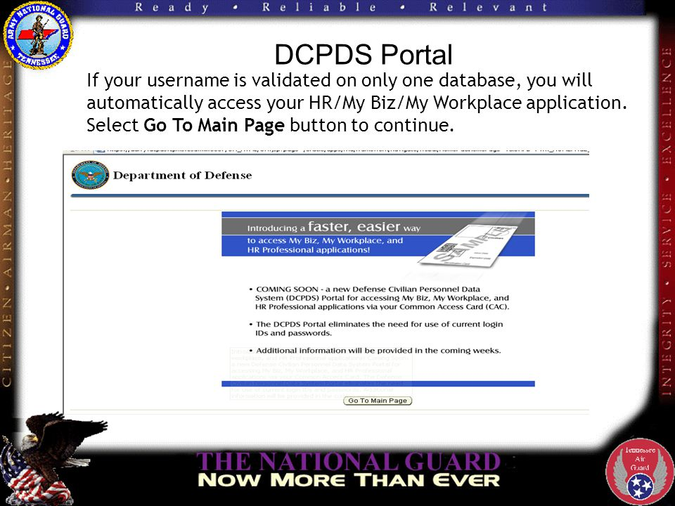 DCPDS Portal Click on the NGB Region link to go to the DOD page.