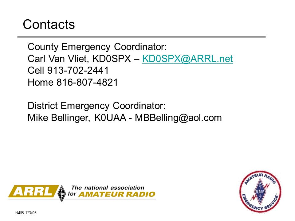 Contacts County Emergency Coordinator: