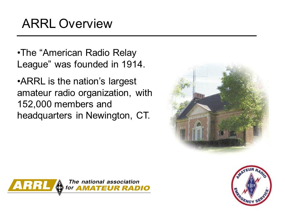 ARRL Overview The American Radio Relay League was founded in 1914.