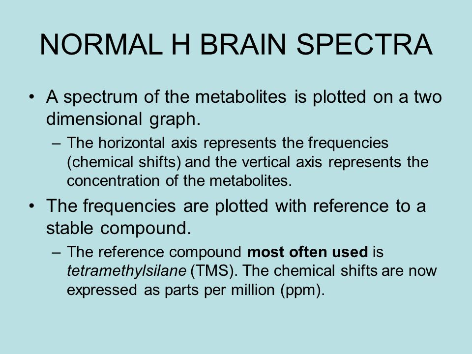 NORMAL H BRAIN SPECTRA A spectrum of the metabolites is plotted on a two dimensional graph.