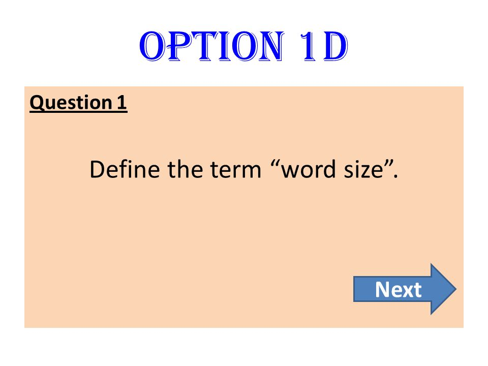 Define the term word size .