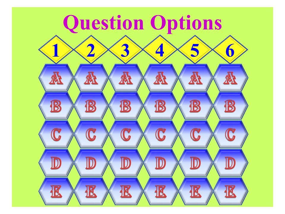 Question Options A B C D E 1 2 3 4 5 6