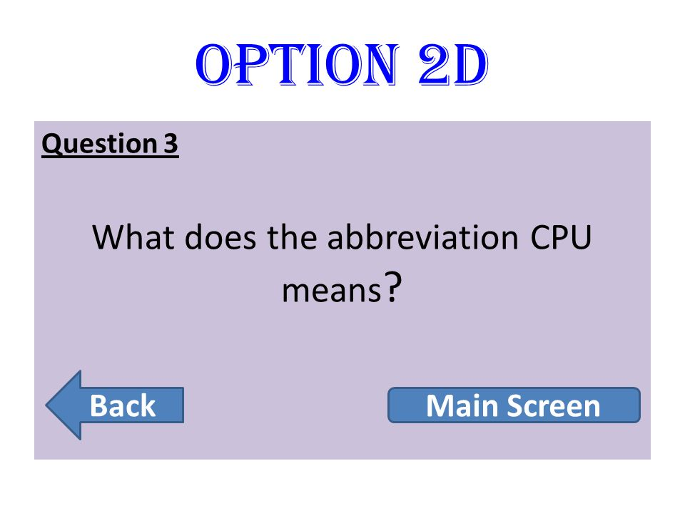 What does the abbreviation CPU means