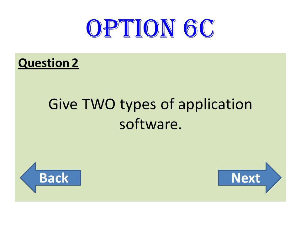 Give TWO types of application software.